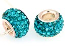 Margele european style, shamballa, blue zircon, 12mm - x1