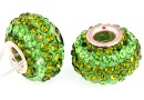 Margele european style, shamballa, fern green, 16mm - x1