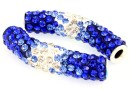 Margele shamballa, tub, blue cobalt-crystal, 46x10mm - x1