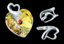 Sistem prindere pandantiv, inima, argint 925, 9.5x6.5mm - x1