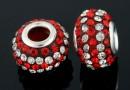 Margele european style, shamballa, crystal-light siam, 14.5mm - x2