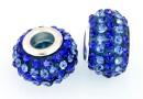 Margele european style, shamballa, sapphire-blue, 14.5mm - x2