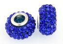 Margele european style, shamballa, cobalt blue, 14.5mm - x2