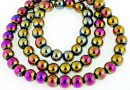Multicolor hemalyke (hematit), round, 6mm