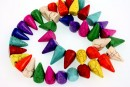 Multicolor magnesite, spikes, 15mm