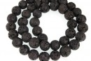 Black lava, round, 12mm