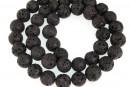 Black lava, round, 12mm