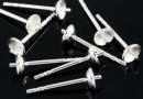 Baza cercei cu pin si platou de 4mm, argint 925 - x1 pereche