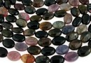 Multicolor natural tourmaline, flat oval, 14x10mm