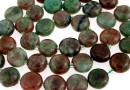 Natural green garnet, flat disc, 9.5mm