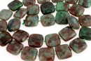 Natural green garnet, flat square, 12x12mm