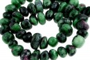 Ruby in zoisite, free form rondelle, 11-15mm
