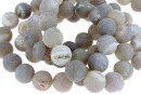 Natural frosted geode, grey, round, 12mm