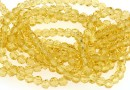 Margele cristal, rotund fatetat, galben auriu, 4mm