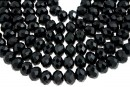 Margele cristal, rondela fatetata, negru, 8mm
