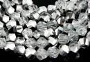 Margele cristal, helix, argintiu AB, 6mm