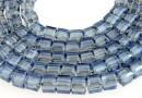 Margele cristal, cub, bleu metalizat, 4mm