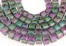 Margele cristal, cub, rosu, 6mm
