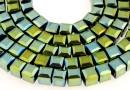 Margele cristal, cub, oliv metalizat, 4mm