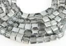 Margele cristal, cub, argintiu AB, 4mm