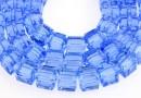 Margele cristal, cub, albastru safir, 6mm