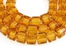 Margele cristal, cub, topaz auriu, 6mm