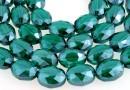 Margele cristal, oval fatetat, verde smarald, 12x9mm