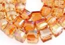 Margele cristal, cub, rosu magma, 10.5mm