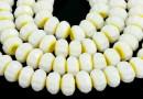 Margele cristal millefiori, rondela fatetata, alb-galben, 8x5mm