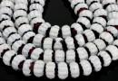 Margele cristal millefiori, rondela fatetata, alb-grena, 8x5mm