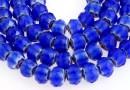 Margele cristal millefiori, rondela fatetata, albastru-alb, 8x5mm