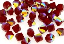 Swarovski, margele bicone, dark red coral AB, 6mm - x10