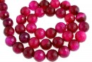 Intense fuchsia lace agate, faceted round, 12mm