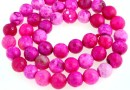 Crab fire agate, intense pink, faceted round, 8mm