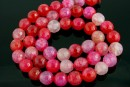 Dragon vein agate, multicolor red, faceted round, 8mm