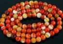 Orange lace agate, faceted round, 4mm