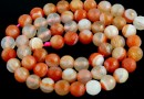 Brick lace agate, faceted round, 6mm