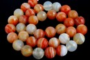 Brick lace agate, faceted round, 12mm