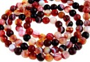 Dark red lace agate, faceted round, 6mm