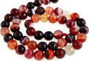 Dark red lace agate, faceted round, 8mm