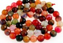 Dragon vein agate, multicolor, faceted round, 6mm