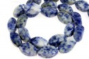Blue spot sodalite, twisted, 16x10mm