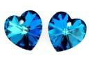 Swarovski, pandantiv inima, bermuda blue, 10mm - x2