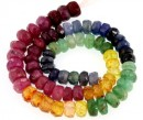 Ruby, emerald and multicolor sapphire, natural stone, faceted rondelle, 4-5mm