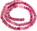 Pink tourmaline, natural stone, faceted rondelle, 2.7-3mm