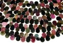 Multicolor natural tourmaline, briolette, 8x6mm
