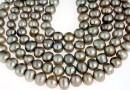Perle de cultura - 8-9mm, argintiu metalizat