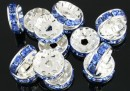 Spacer Rhinestone albastru safir, 10mm - x10