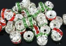Spacer Rhinestone mix alb-rosu-verde, 8mm - x10