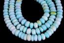 Peruvian blue opal, free form rondelle, 8.5-9.5mm